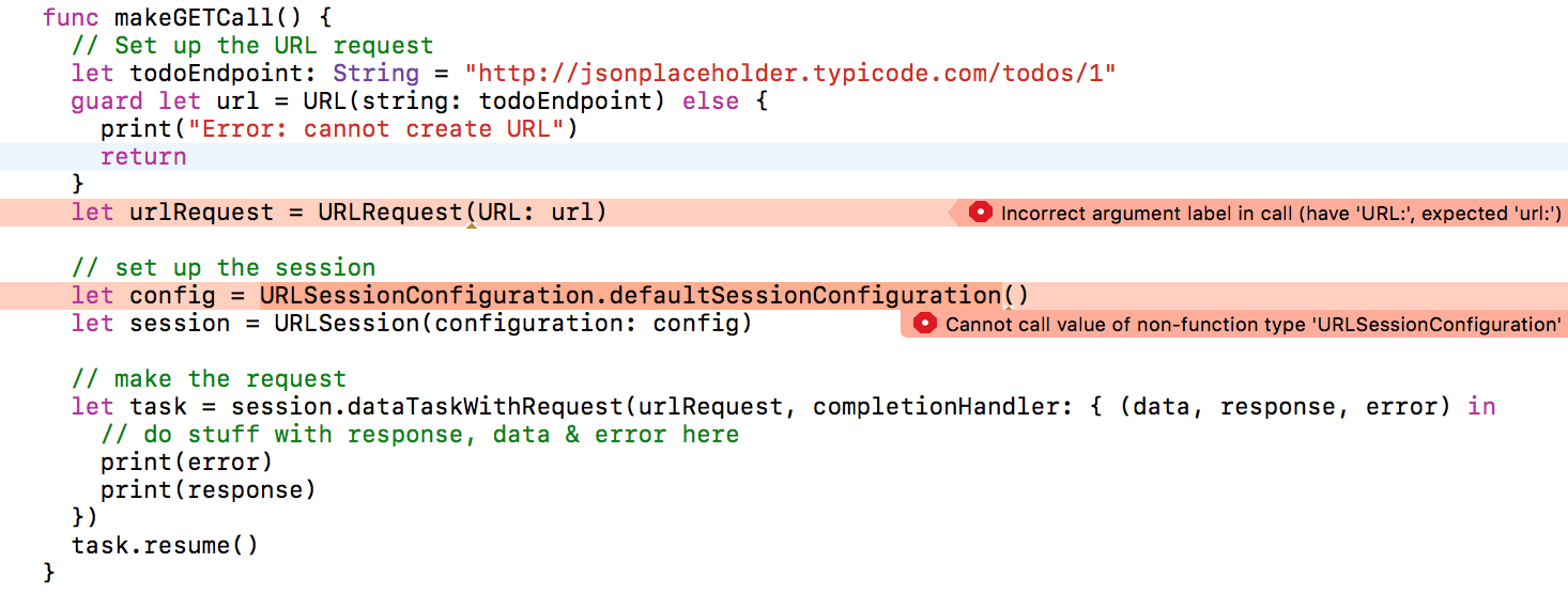 Xcode errors with code above