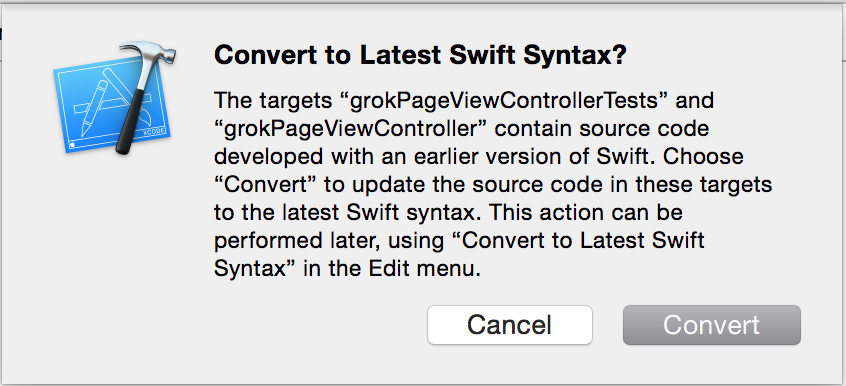 Swift syntax conversion dialog from Xcode
