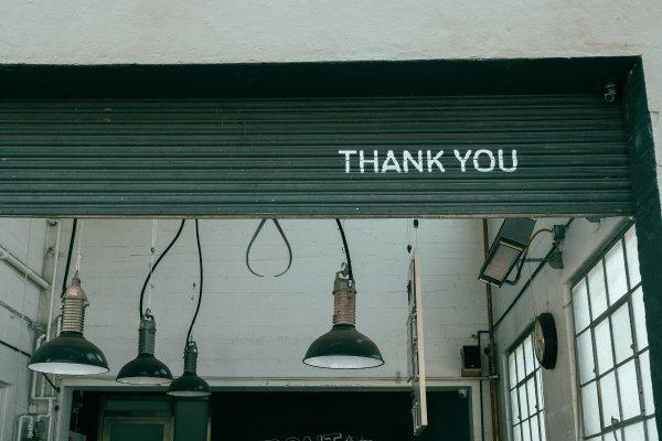 Thank you written on shop door