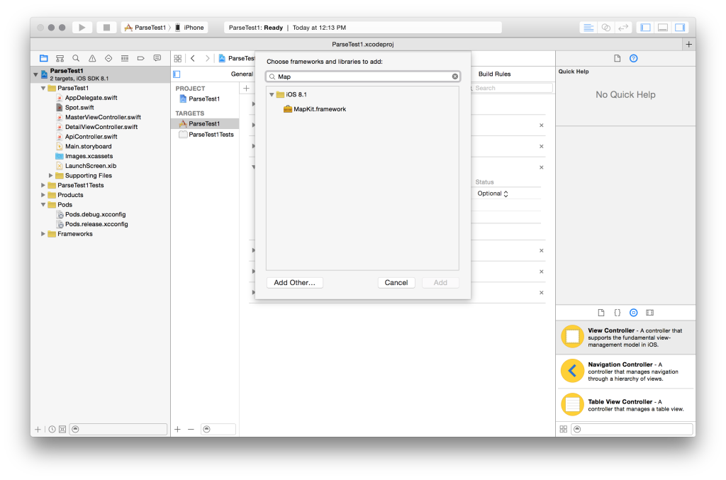 Screenshot of xcode showing how to add MapKit framework