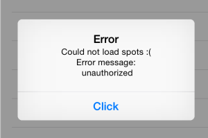 Error: Could not load spots :( Error message: Unauthorized